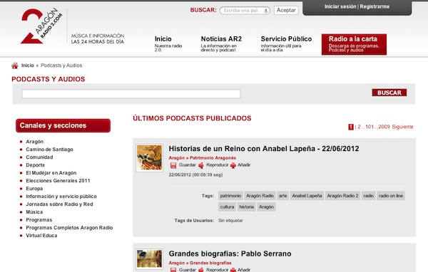 Captura web de aragonradio2.com